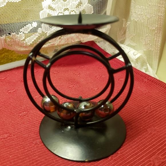 Vtg Candle Holder Black Metal Circular Marbles
